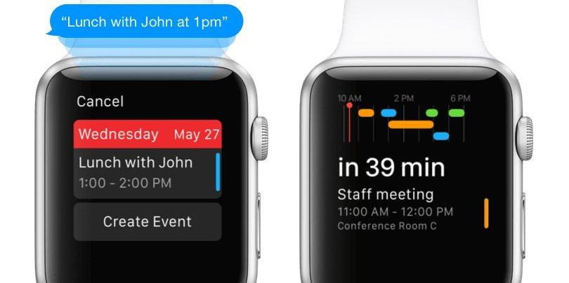 calendrier Apple Watch