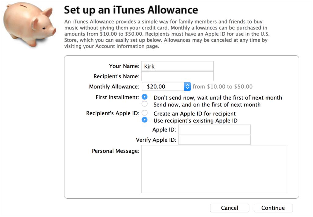 carte cadeaux iTunes