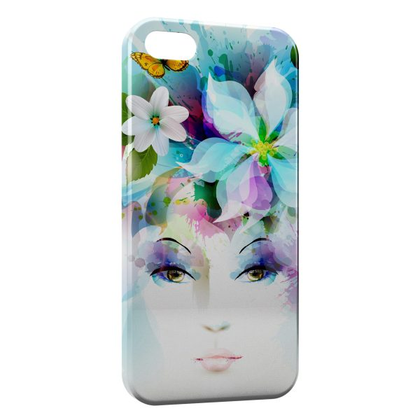 Coque iPhone 5/5S/SE Art Girl Eyes Flowers Petals Butterfly