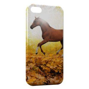 Coque iPhone 5/5S/SE Cheval Automne Feuilles