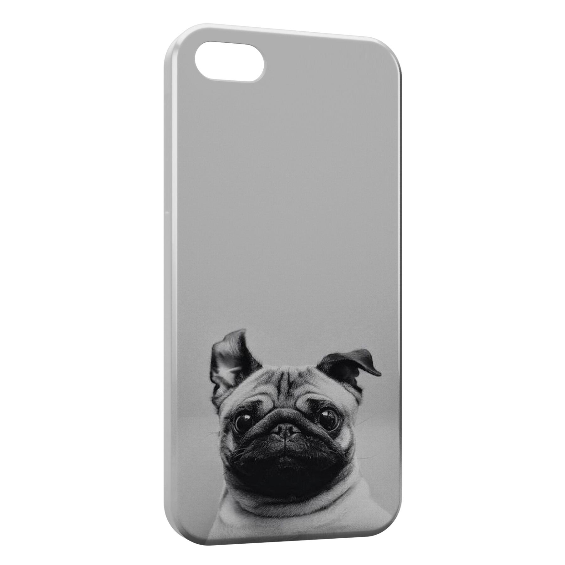 Coque iPhone 5/5S/SE Chien Bulldog Cute Black White