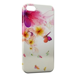 Coque iPhone 5/5S/SE Colorful Butterflies on Flowers