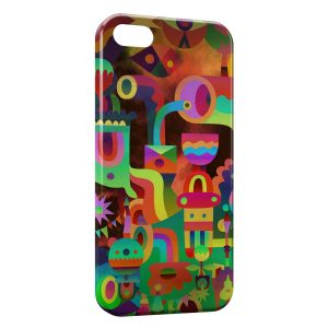 Coque iPhone 5/5S/SE Funny Multicolor Art