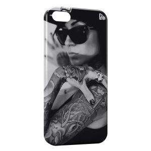 Coque iPhone 5/5S/SE Girl Sexy Black & White Casquette