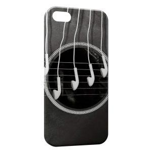 Coque iPhone 5/5S/SE Guitare Cordes & Ecouteurs