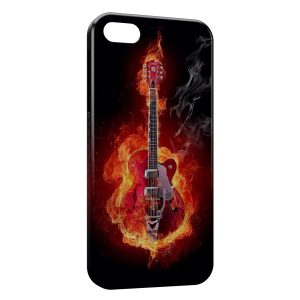Coque iPhone 5/5S/SE Guitare en feu Flames Power