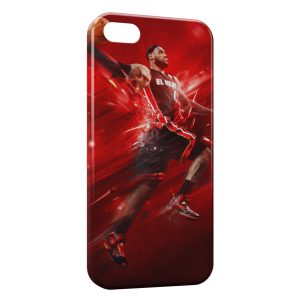 Coque iPhone 5/5S/SE Lebron James Basketball Red Art