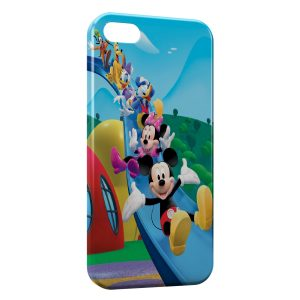 Coque iPhone 5/5S/SE Mickey Minnie Donald Daisy Toboggan