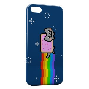 Coque iPhone 5/5S/SE Nyan Cat Chat Biscotte