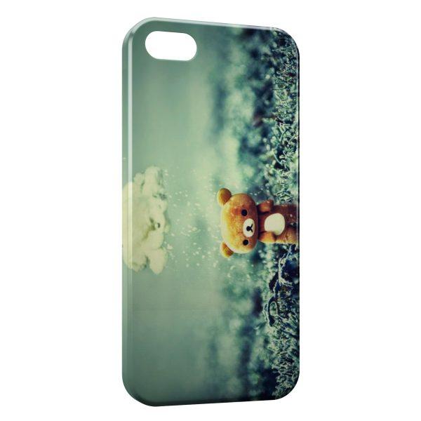 Coque iPhone 5/5S/SE Ourson Pluie Vintage Mignon