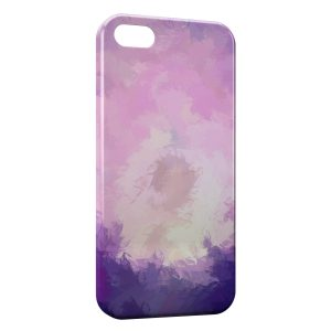 Coque iPhone 5/5S/SE Plumes Violettes Paint