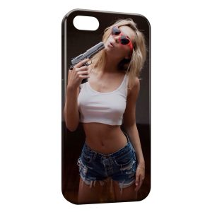 Coque iPhone 5/5S/SE Sexy Girl & Gun 2