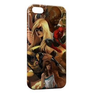 Coque iPhone 5/5S/SE Spiderman Wolverine Marvel Style