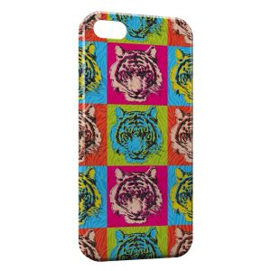 Coque iPhone 5/5S/SE Tiger Style Art Multicolor