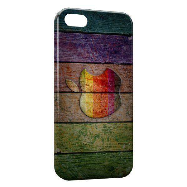 Coque iPhone 5C Apple sur bois 600x600