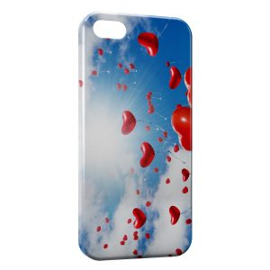 Coque iPhone 5C Ballon Coeur Rouge Ciel Amour