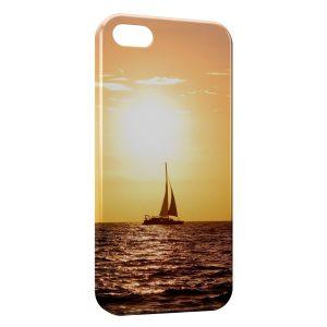 Coque iPhone 5C Bateau & Coucher de Soleil