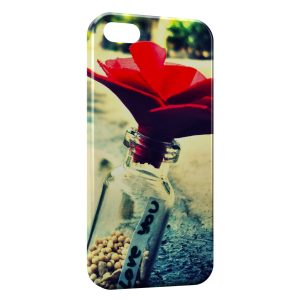 Coque iPhone 5C Fleur Rouge Love You Amour