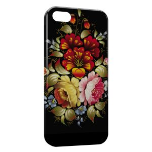 Coque iPhone 5C Flowers Black Design