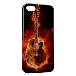 Coque iPhone 5C Guitare en feu