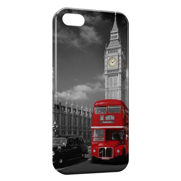Coque iPhone 5C Londres Bus London Rouge Black & White 2