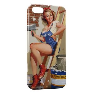 Coque iPhone 5C Pin up Painted Travaux