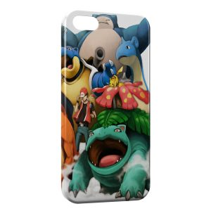 Coque iPhone 5C Pokemon Group Sacha Pikachu Tortank Bulbizarre