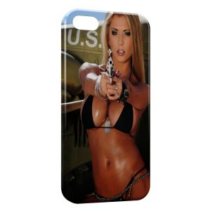 Coque iPhone 5C Sexy Girl Gun 5