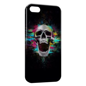Coque iPhone 5C Tete de Mort Colors in Black