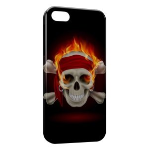 Coque iPhone 5C Tete de Mort Fire 4