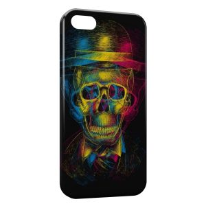 Coque iPhone 5C Tete de Mort MultiColors