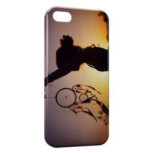 Coque iPhone 5C attrape rêve fille coucher de soleil