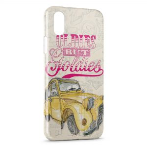 Coque iPhone X & XS 2 CV Vintage Yellow