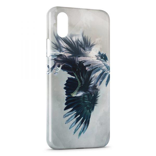 Coque iPhone X & XS Aigle bleu