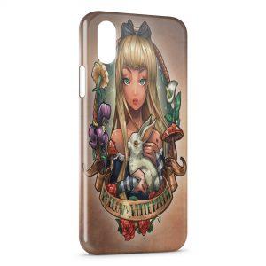 Coque iPhone X & XS Alice Punk au Pays des Merveilles