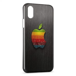 Coque iPhone X & XS Apple Logo Multicolor