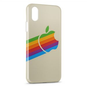 Coque iPhone X & XS Apple Rainbow