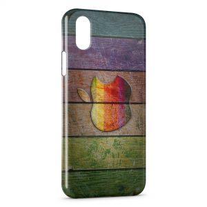 Coque iPhone X & XS Apple sur bois