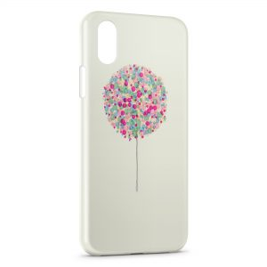 Coque iPhone X & XS Arbre multicolor paint