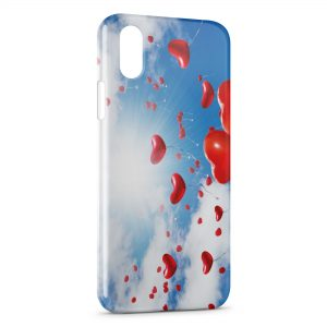 Coque iPhone X & XS Ballon Coeur Rouge Ciel Amour