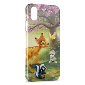 Coque iPhone X & XS Bambi Panpan Fleur Papillon
