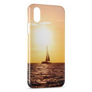 Coque iPhone X & XS Bateau & Coucher de Soleil