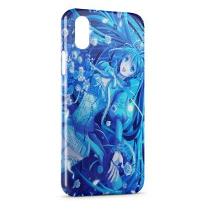 Coque iPhone X & XS Blue Girly Manga