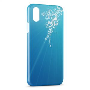 Coque iPhone X & XS Blue Style & White Flowers
