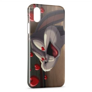 Coque iPhone X & XS Bugs Bunny Love Cœurs