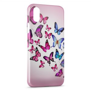 Coque iPhone X & XS Butterflies Pink & Blue