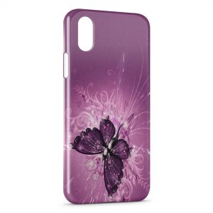 Coque iPhone X & XS Butterfly Papillon Fushia