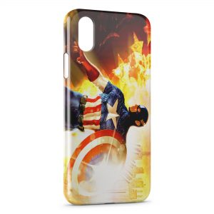 Coque iPhone X & XS Captain America Fire