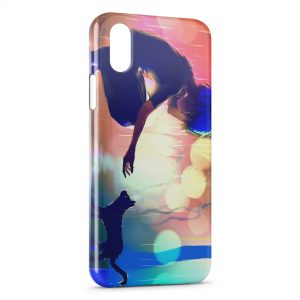 Coque iPhone X & XS Cat & Girl Cute Manga
