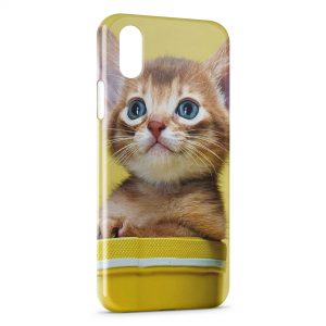Coque iPhone X & XS Chaton Jaune